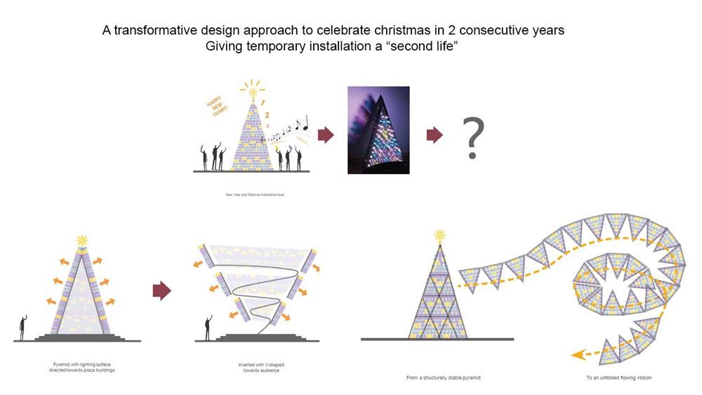 Light Bottle Pyramid & Urban Lighting Swirl